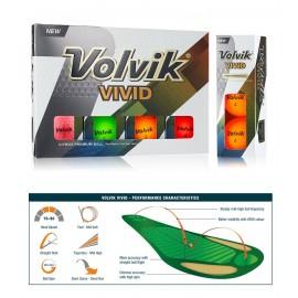 Volvik VIVID Dozen Golf Balls - Assorted Colours