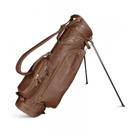 Leather Stand Bag - Black / Khaki
